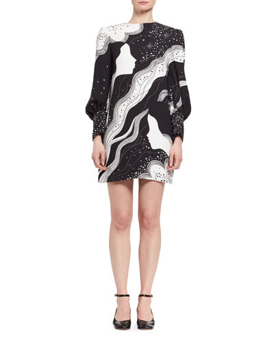 DREAM GALAXY CADY SHIFT DRESS, BLACK/WHITE