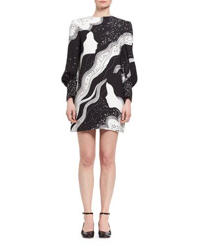 Dream Galaxy Cady Shift Dress, Black/White