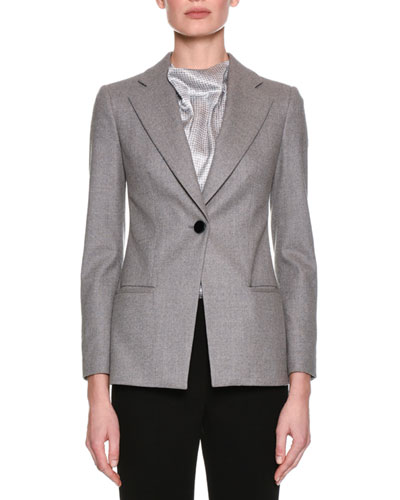Classic Single-Button Blazer, Gray