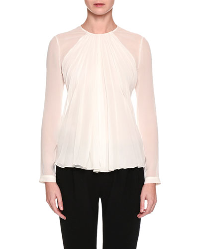 Long-Sleeve Gathered Silk Georgette Blouse, White
