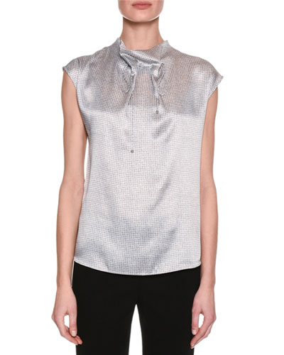Graphic-Print Funnel-Neck Silk Blouse, Gray