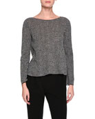 Chevron-Stitch Virgin Wool Boat-Neck Sweater, Gray Pattern