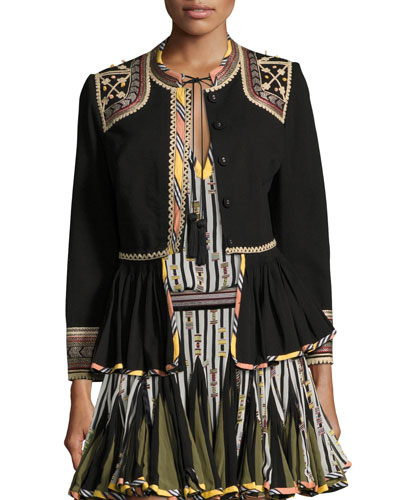 Embroidered Peplum Jacket, Black