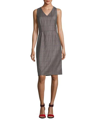 Plaid Wool V-Neck Sleeveless Dress