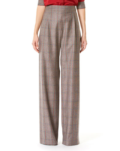 Plaid High-Rise Wide-Leg Pants, Multicolor