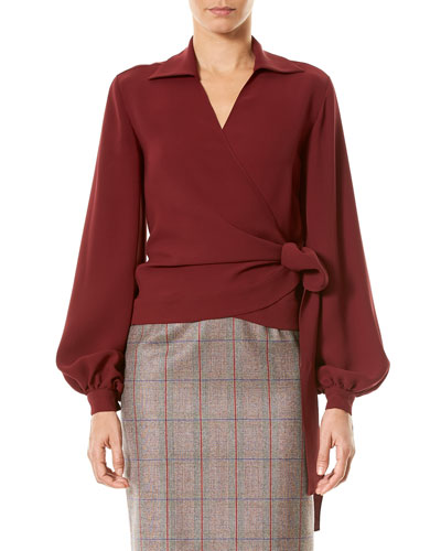 Full-Sleeve Silk Wrap Blouse, Wine