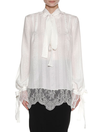 Floral Wallpaper Silk Tie-Neck Blouse with Lace Hem, White