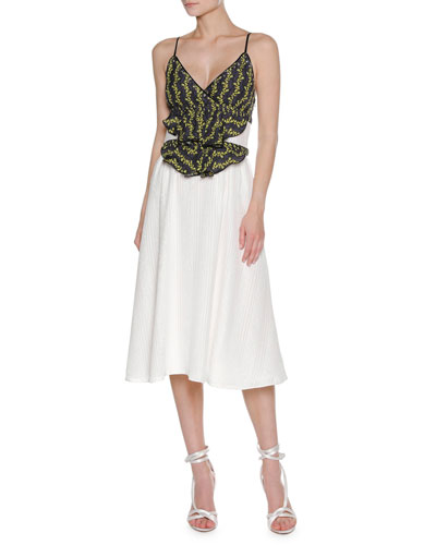 Floral Vine Sleeveless Midi Dress, White