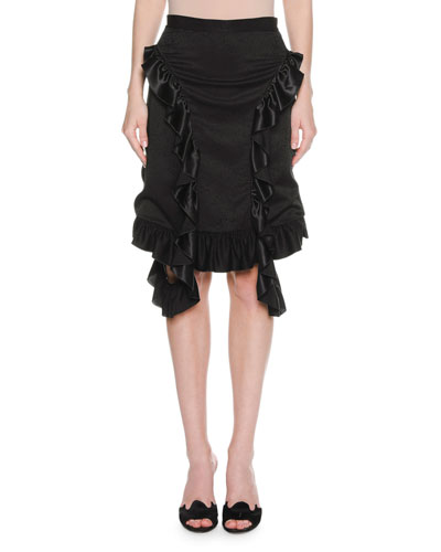 Ruffle-Trim Viscose Skirt, Black