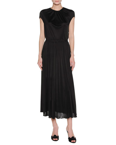 Cap-Sleeve Jersey Maxi Dress, Black