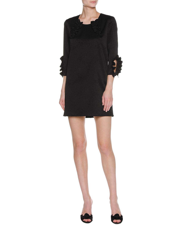 3/4-Sleeve Ruffle-Trim Shift Dress, Black