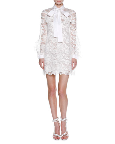 Long-Sleeve Tie-Neck Floral Lace Minidress, White
