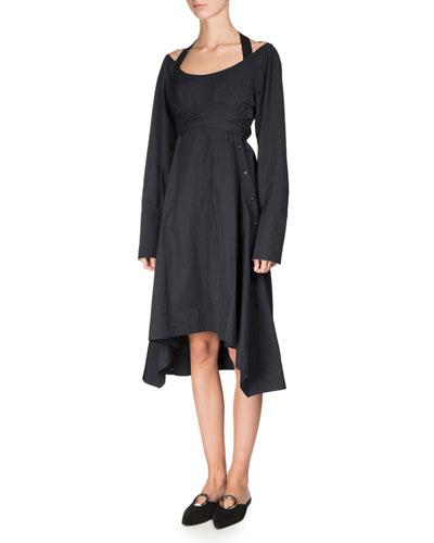 Long-Sleeve Faux-Wrap Harness Dress, Black