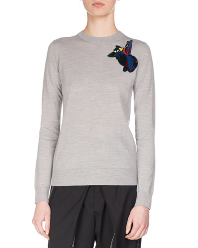 Embroidered-Patch Wool Sweater, Gray