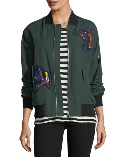 Oversized Bomber Jacket with Patches, Forest