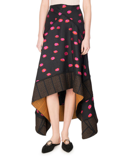 Fil Coupé Ikat Dot Handkerchief Maxi Skirt, Multicolor