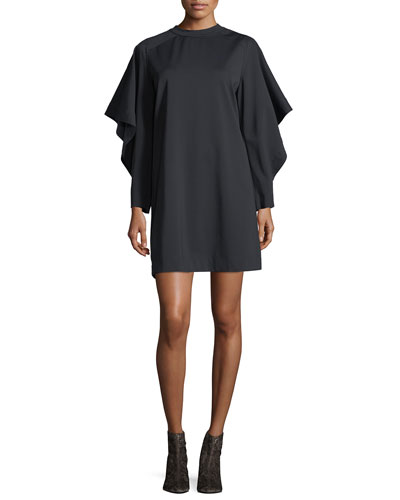 Batwing-Sleeve Crewneck Shift Dress