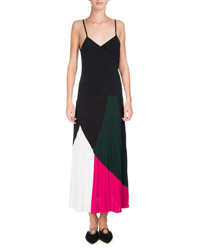 Colorblock Sunburst-Pleat Camisole Midi Dress, Multicolor
