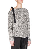 Popcorn Flower Off-the-Shoulder Tunic Top, White/Black