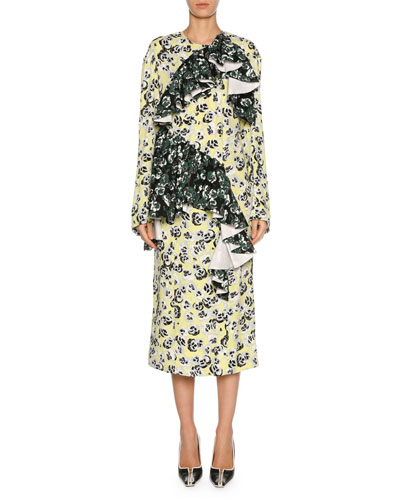 Mixed Pansy-Print Long-Sleeve Ruffle Midi Dress, White/Multi