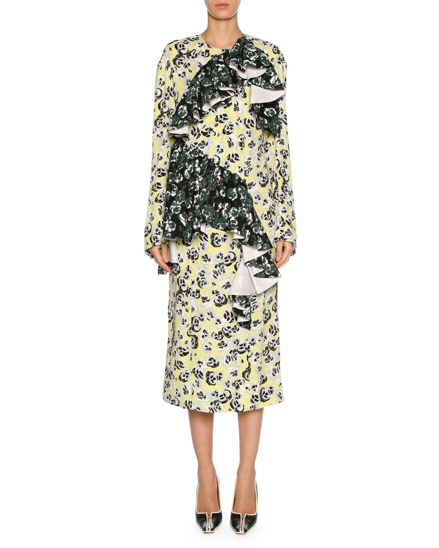 Mixed Pansy-Print Long-Sleeve Ruffle Midi Dress, White/Multi