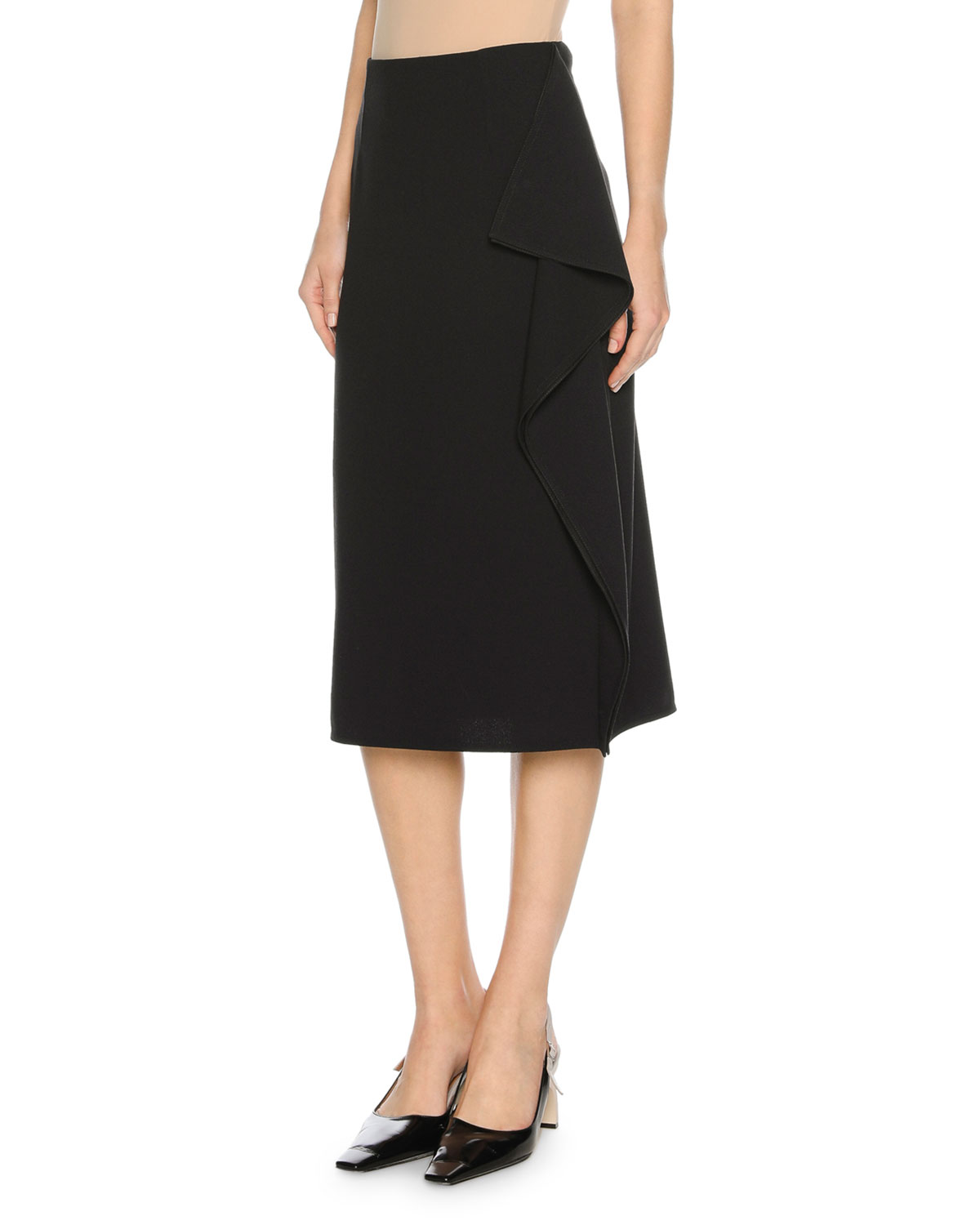 Cascade-Ruffle Midi Skirt, Blue/Black
