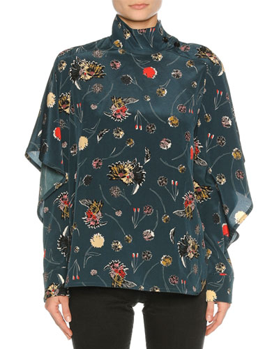 Funnel-Neck Floral Silk Blouse, Blue Pattern