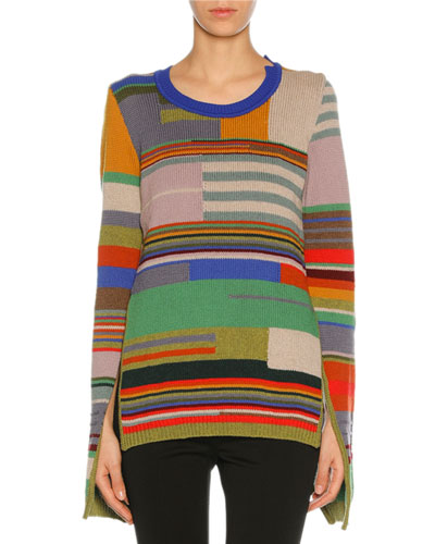 Colorblock Intarsia Slit-Cuff Sweater, Multicolor