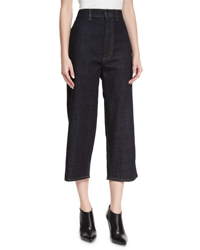 High-Rise Cropped Wide-Leg Jeans