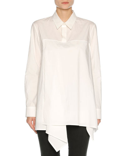 Drape-Front Poplin Tunic Top, White