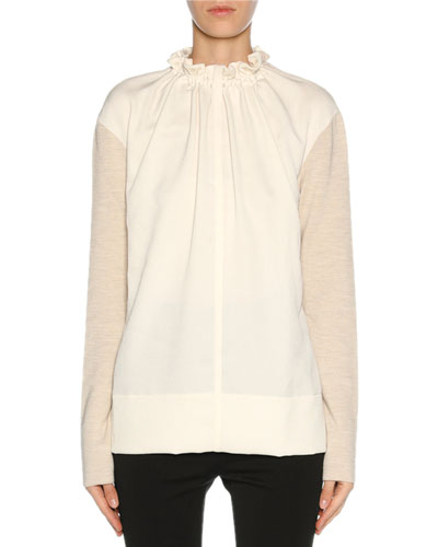 Gathered-Neck Knit-Sleeve Blouse, Off White