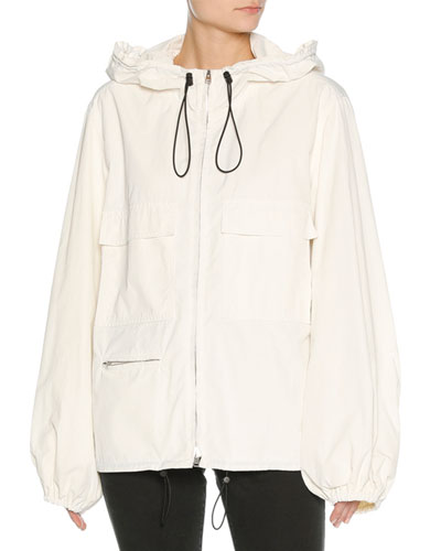 Zip-Front Hooded Tech Jacket, White