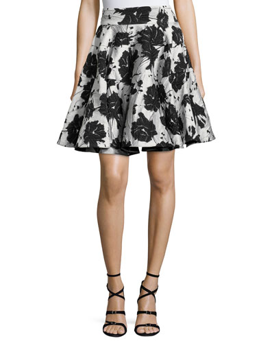 Floral Cloque Jacquard Flared Skirt