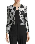 Floral Cloque Jacquard Cropped Jacket