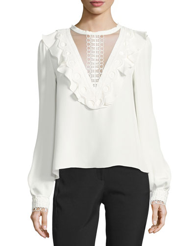 Illusion Ruffle & Lace Silk Blouse