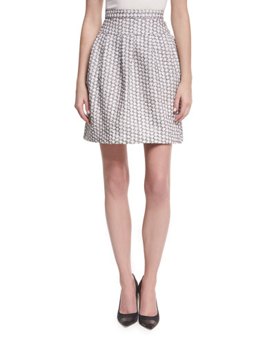 Pleated Jacquard Miniskirt, White/Black