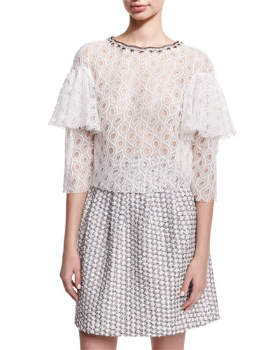Ruffle-Sleeve Lace Top, White