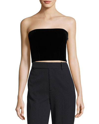 Strapless Velvet Crop Top