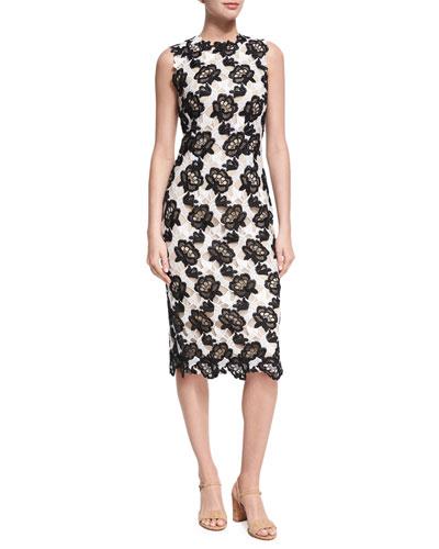 Floral Guipure Lace Sleeveless Sheath Dress, White/Black