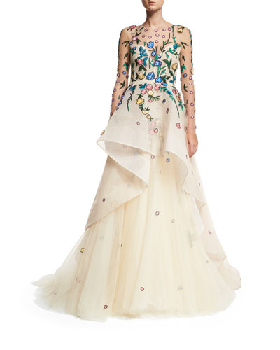 Floral-Embroidered Tiered Illusion Gown