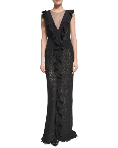 Guipure Lace Illusion Ruffle Gown, Black