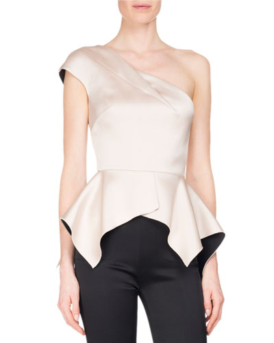 Rodmell Silk Satin One-Shoulder Peplum Top, Pink/Black