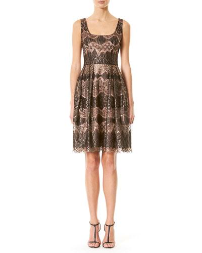Metallic Lace Fit & Flare Dress, Pink/Black