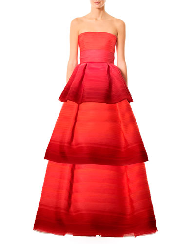 Strapless Tiered Ombré Ball Gown, Red