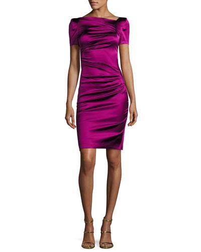 Noomi Short-Sleeve Duchesse Satin Ruched-Side Cocktail Dress, Fuchsia