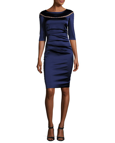 Morena Duchesse Satin Pearly-Embellished Cocktail Dress, Royal