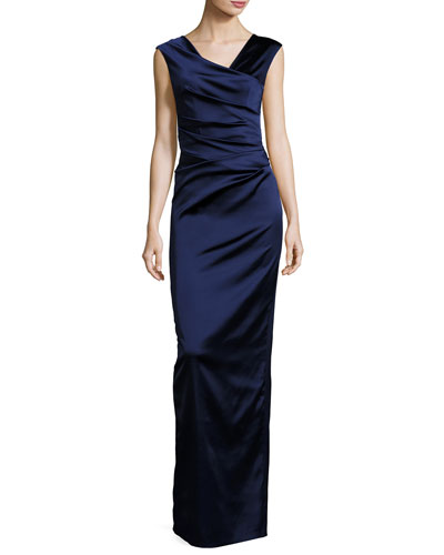 Note V-Neck Cap-Sleeve Ruched Gown, Royal