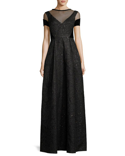 Norridge Sequined Chenille Short-Sleeve Gown, Black