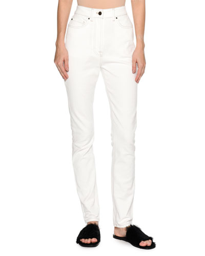 High-Waist Straight-Leg Jeans, White
