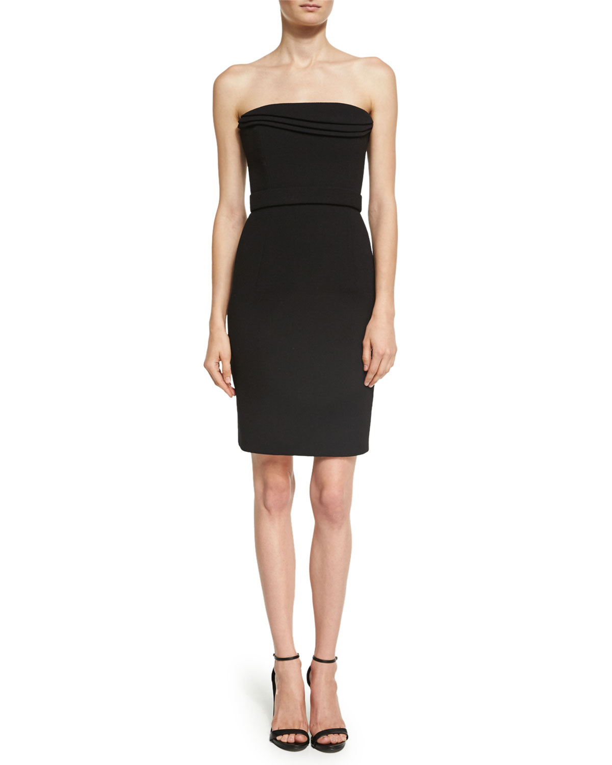 Strapless Petal-Bodice Cocktail Dress, Black